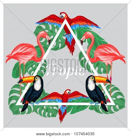 Tropical birds print design with palm leaves