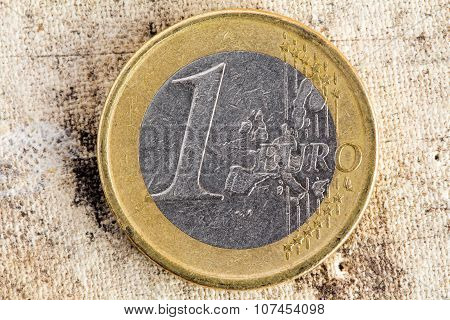 Euro Coin On Old Canvas