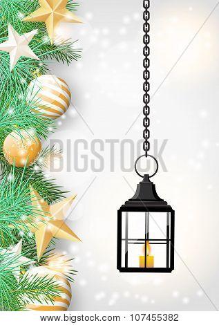 christmas theme with old black lantern, illustration