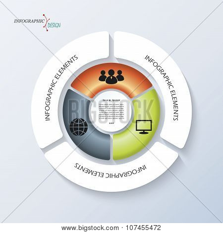 Infographic Template For Business Project Or Presentation With Circle And Three Segments. Vector