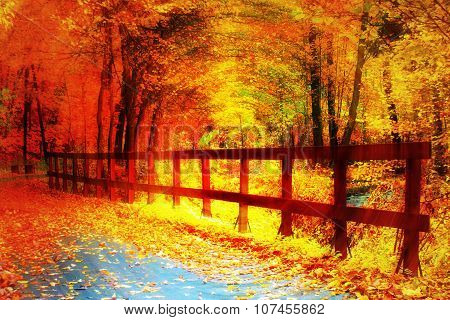 Dynamic autumn art illustration