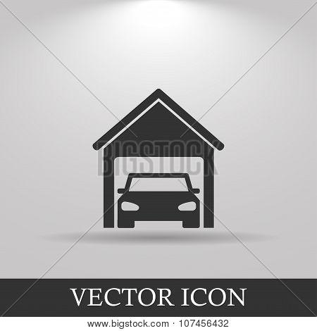 Car Garage . Flat Design Style.