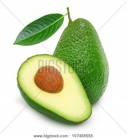 Fresh green ripe avocado and slice