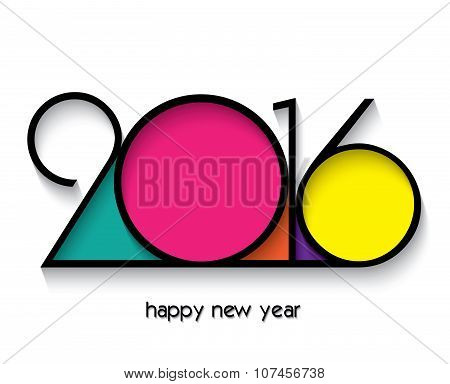 2016 Happy New Year Design For Greetings Card Isolated On White Background