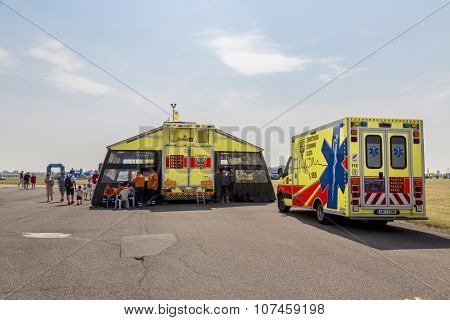 Modern Ambulance Car With Transport Operating Room. 13th June 2015. Kbely, Czech Republic