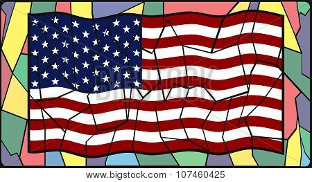 U.s.a. Flag On Stained Glass