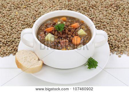 Lentil Soup Stew With Fresh Lentils In Bowl