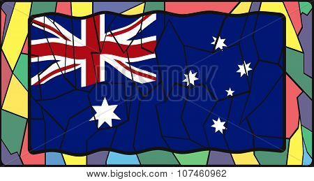 Australia Flag On Stained Glass Window