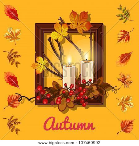 Autumn composition: leaves, candles, photo frame