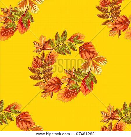 Autumn leaves wreath background