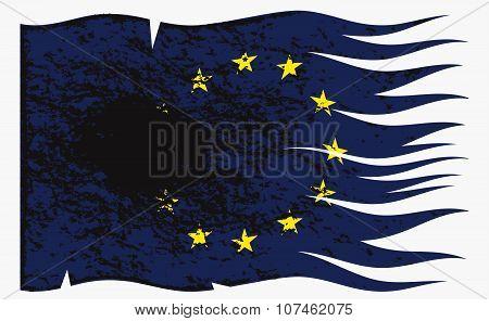 Wavy Eu Flag Grunged
