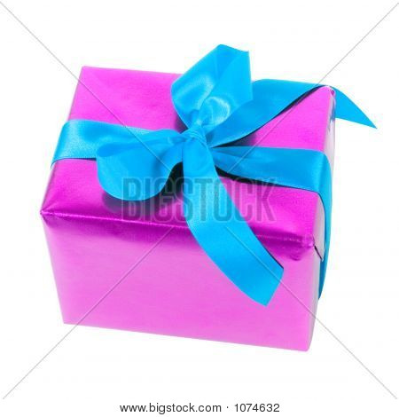 Gift - Pink Paper And Blue Ribbon