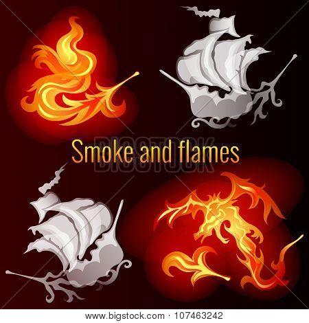 Smoke and flames, dark background