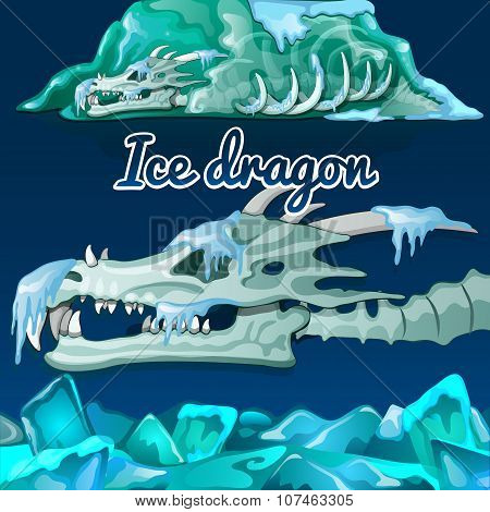 Skeleton of a dragon that was frozen in the ice