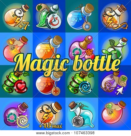 Big set of different magic bottles