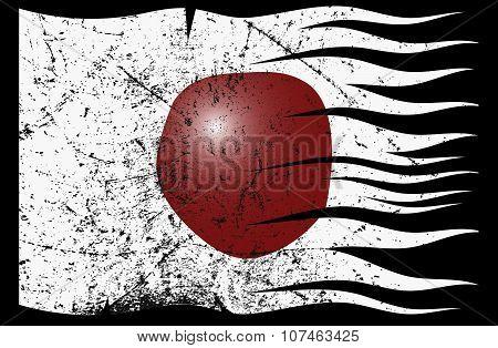 Wavy Japan Flag Grunged