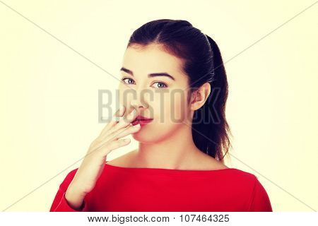 Young woman smoking electronic cigarette ,ecigarette