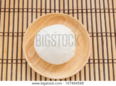 Chinese Bun In Wooden Plate