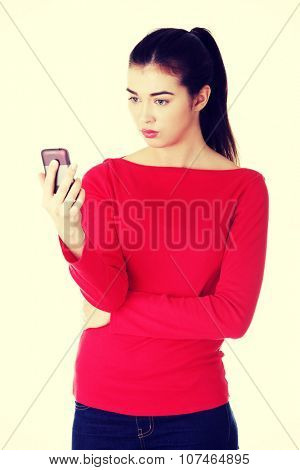 Young woman useing a modern mobile phone,smartphone