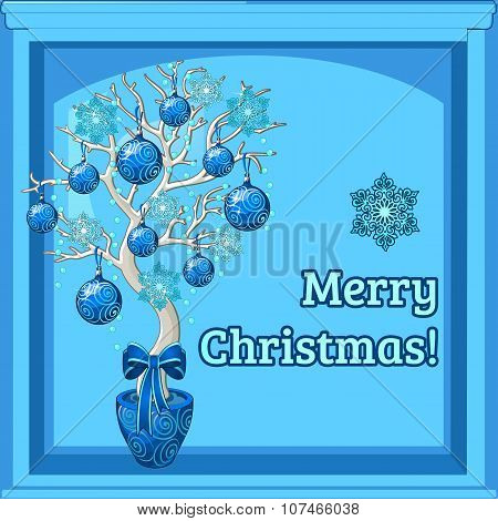 Christmas bonsai and merry Christmas wishes