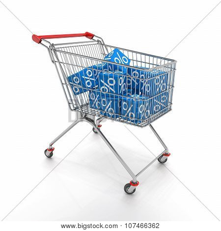Shopping Cart With Blue Cubes Of Percent