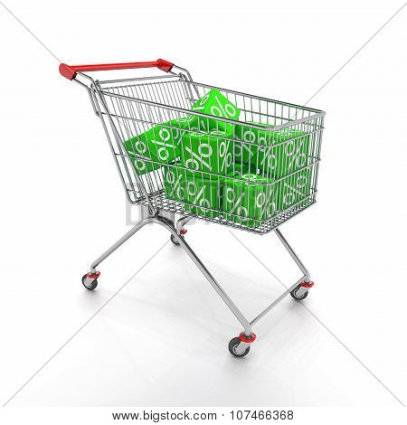 Shopping Cart With Green Cubes Of Percent