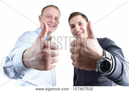 Two businessmans on white with thumbs up