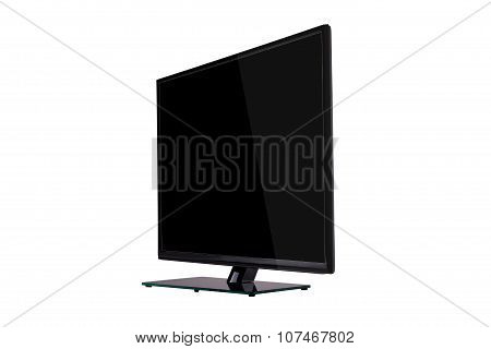 Modern Slim Plasma Tv On Black Glass Stand Isolated On A White Background