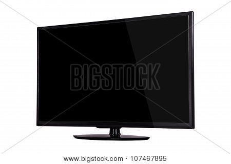 Modern Slim Plasma Tv On A Black Stand Isolated On A White Background