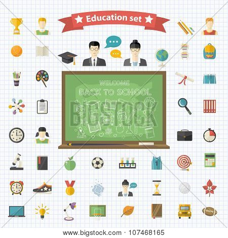 Vector education  big set in flat style