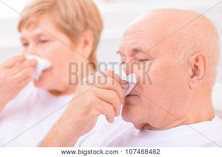 Loving couple feeling ill