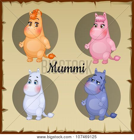 Set of four colored cute little chubby characters