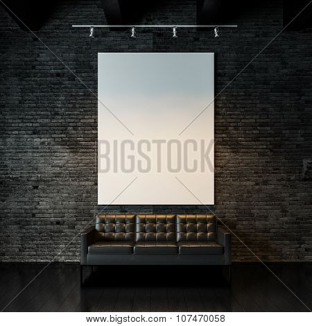 Photo of empty  canvas on the black bricks wall background. 3d render