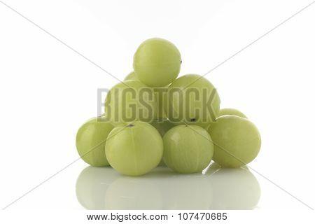Fresh Green Gooseberries shot in Studio on White background
