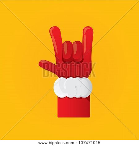 vector Santa Claus hand rock n roll  icon