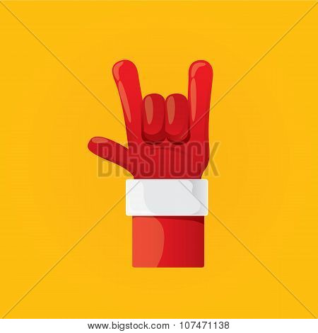 vector Santa Claus hand rock n roll  icon
