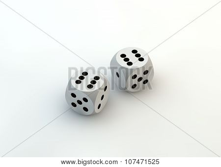 White dice. Luck. Victory. Win.
