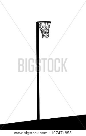Silhouette Of Goalpost With Net For Korfball, Netball, Basketball Or Ringball