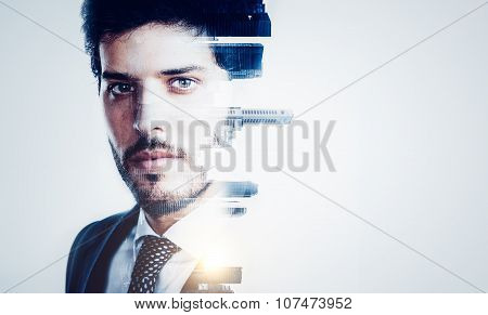 Portrait of young businessman and contemporary city on the background. Double exposure.