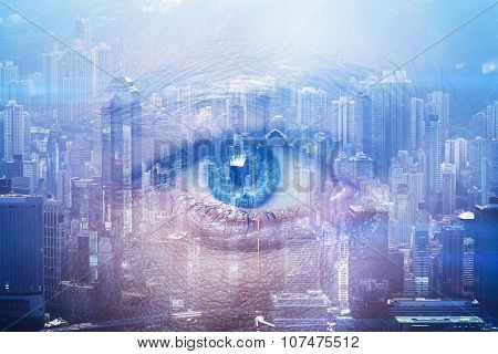 Close-up of human eye with visual effects and double exposure  contemporary city on the background.