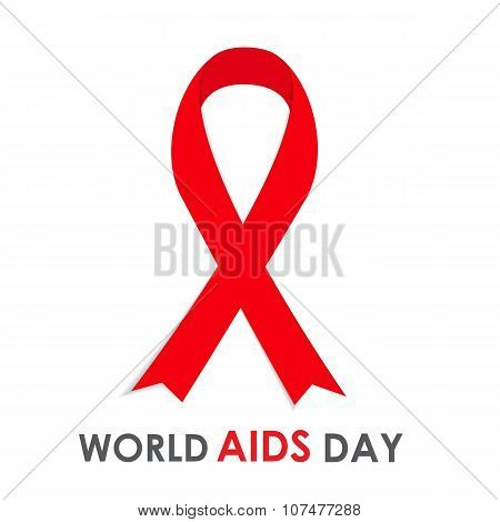 Red Ribon - Symbol of 21 December World AIDS Day Vector Illustra