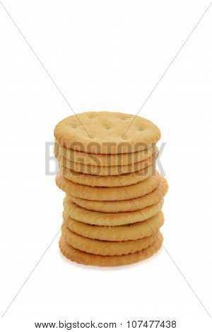 stack small round crackers
