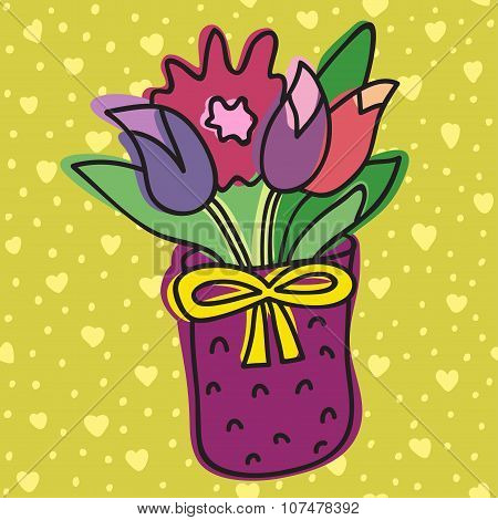 Spring Flower In Pot, Isolated On Background With Hearts, Vector Illustration. Beautiful vector desi