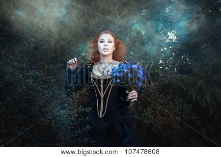 Sweet Red-haired Fairy In The Woods.