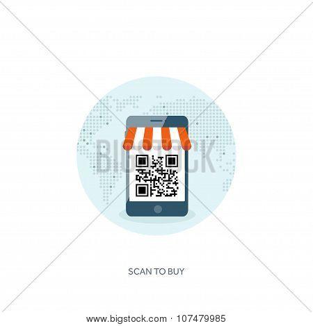 Vector illustration. Flat header. Internet shopping. Web store. Global communication ,trading.E- bus