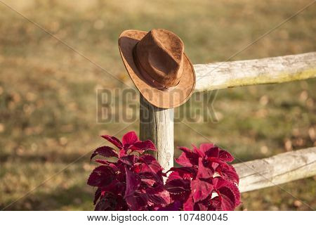 Cowboy Hat On A Post