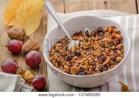 Chocolate Pudding And Baked Granola