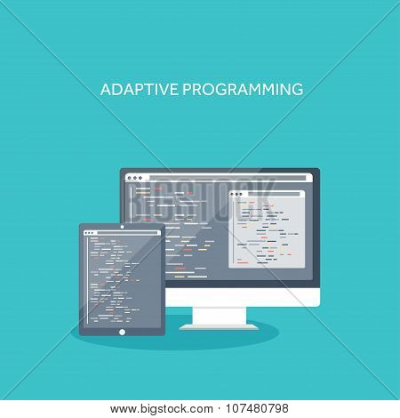 Vector illustration. Flat computing background. Programming ,coding. Web development ,search. Search