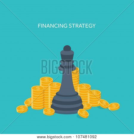 Flat chess figures. Strategy concept background. Vector illustration.
