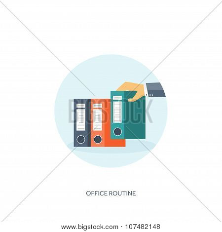Vector illustration. Flat background Paperwork ,office routine, documents. Workspace. Hand with fold